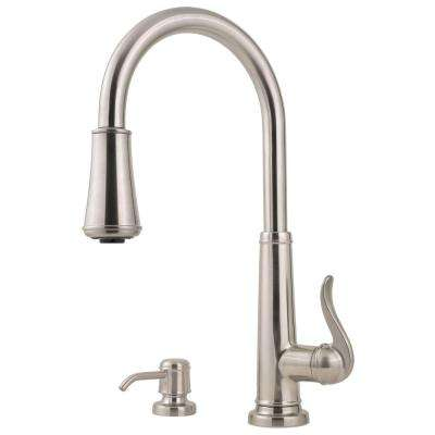 Ashfield Single-Handle Pull-Down Sprayer Kitchen Faucet with Soap Dispenser in Stainless Steel
