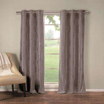 Hastings 36 in. W x 84 in. L Polyester Window Panel in Grey (2-Pack)
