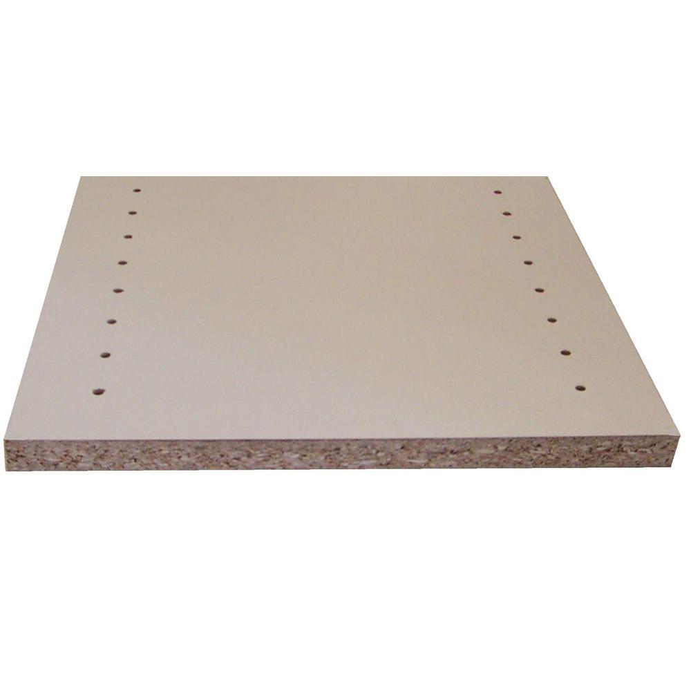White Melamine Drilled Wood Shelf (11.75 in. D x 97 in. L)