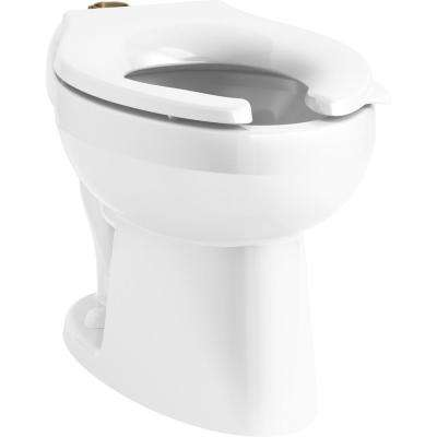 Wellcomme Elongated Ultra Flushometer Toilet Bowl Only with Top Spud in White