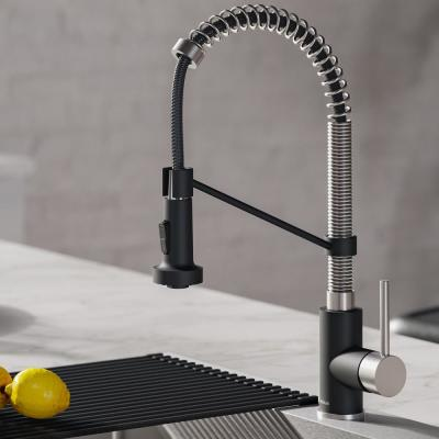 Bolden Single-Handle Pull-Down Sprayer Kitchen Faucet with Dual Function Sprayhead in Stainless Steel and Black