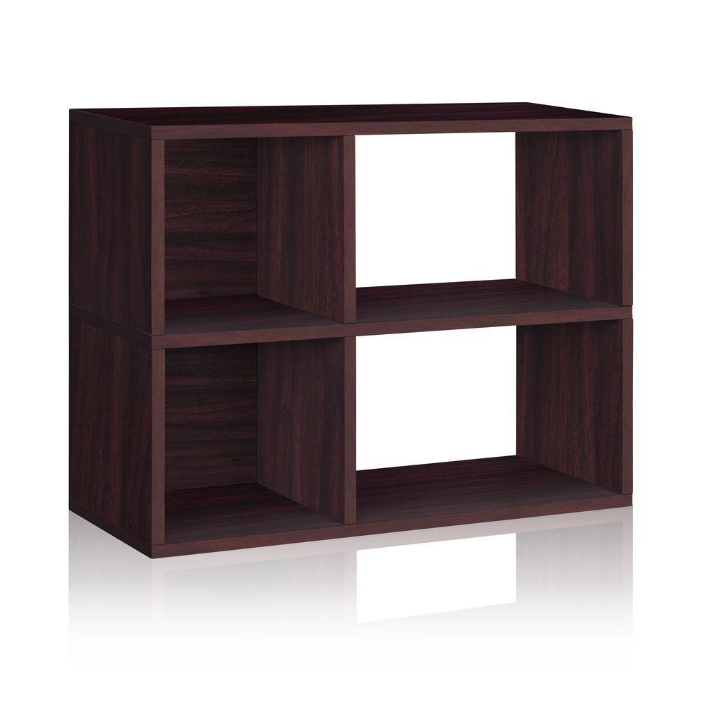 Chelsea 2-Shelf 12 x 32.1 x 24.8 zBoard  Bookcase, Tool-Free Assembly Cubby Storage in Espresso Wood Grain