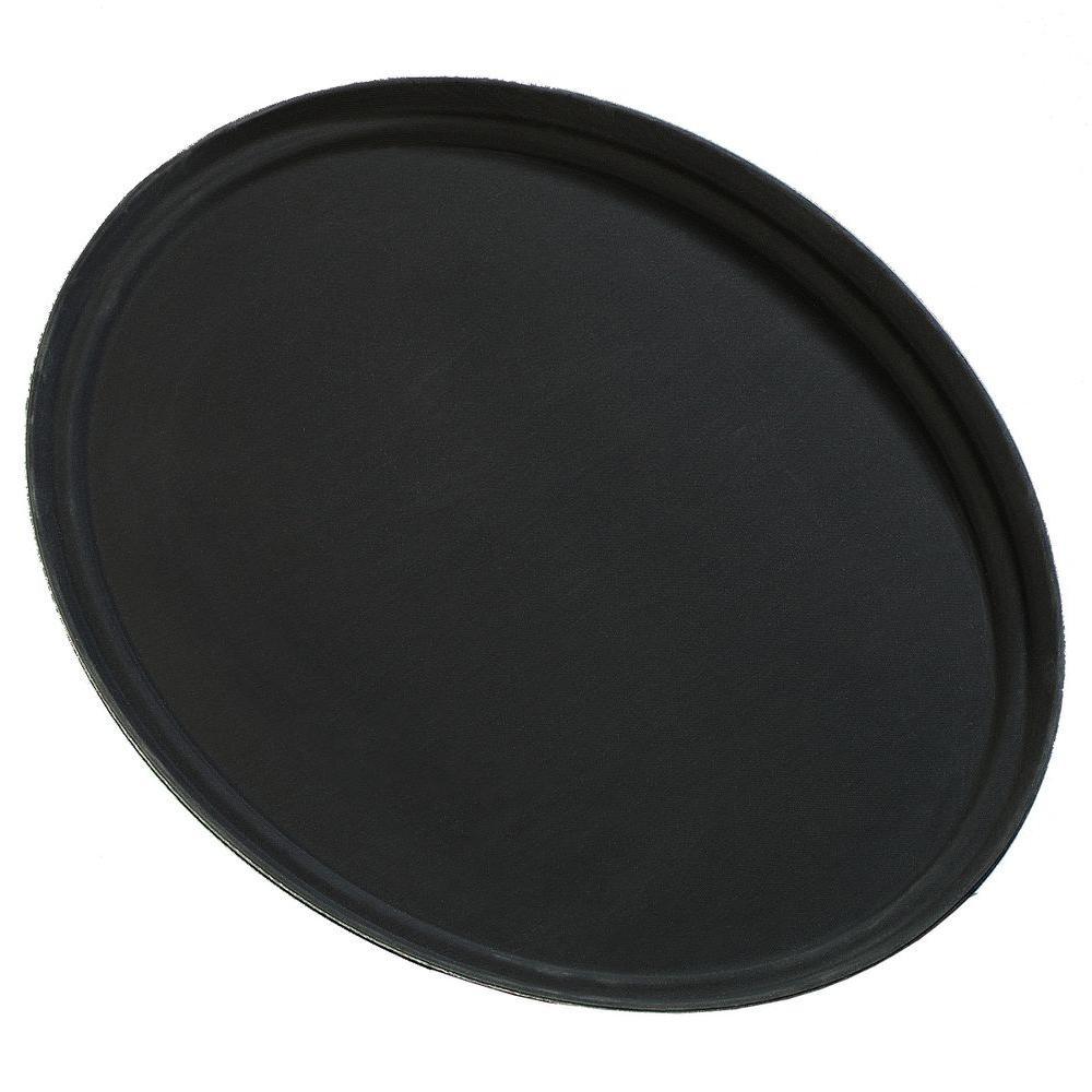 22.25 in. x 27 in. Glasteel Oval Tray in Black (Case of 6)