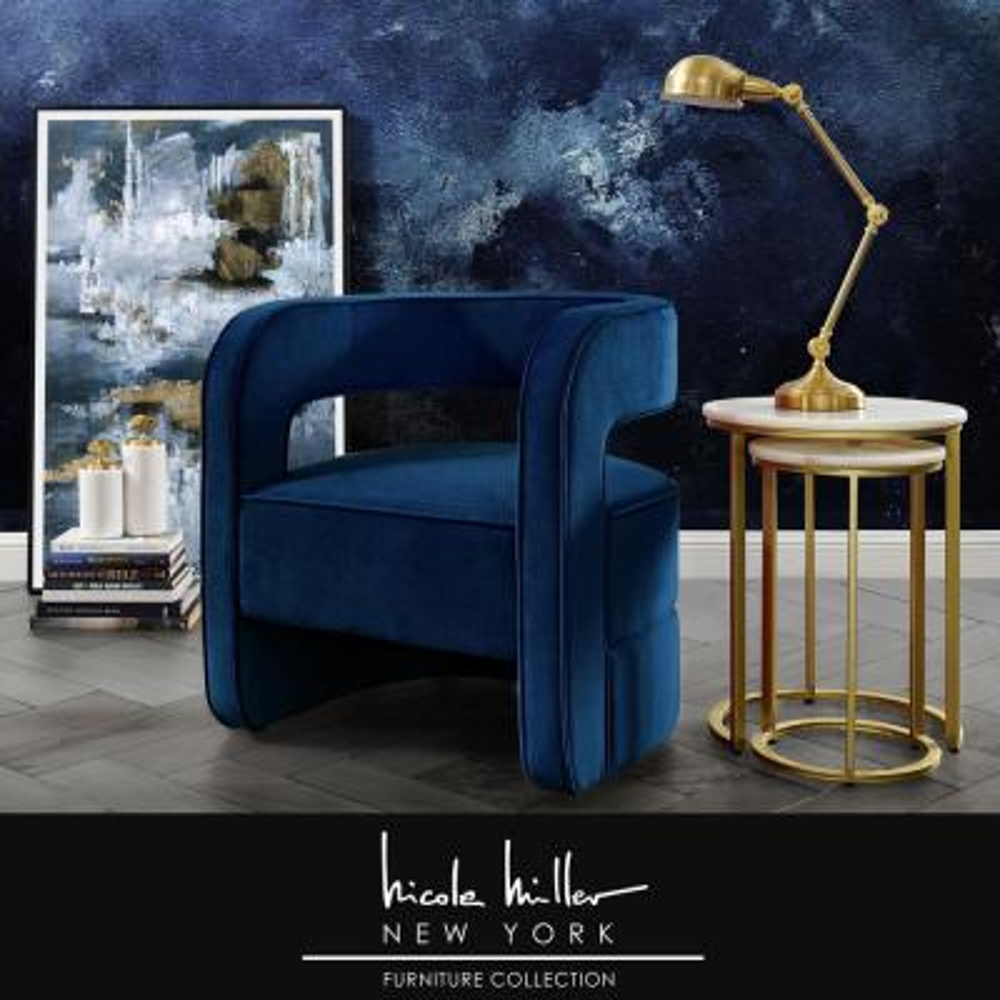 Otis Navy Velvet Accent Chair with Upholstered