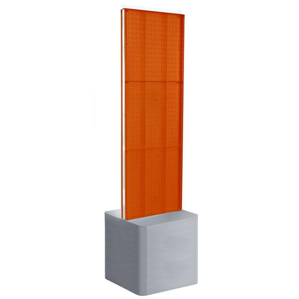 60 in. H x 16 in. W Two-Sided Pegboard Floor Display on Adjustable Studio Base in Orange
