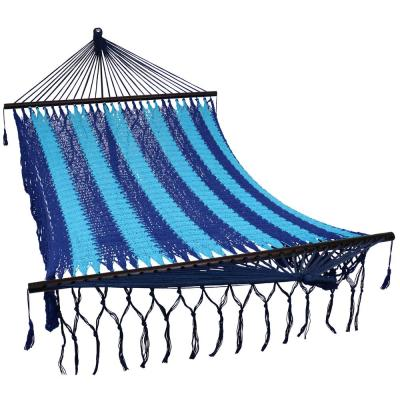 American Deluxe-Style Mayan 12 ft. Hammock Bed with Spreader Bars in Blue