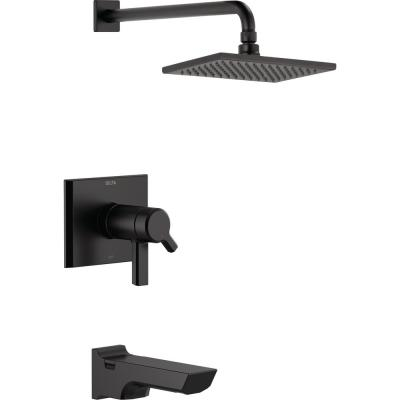 Pivotal TempAssure H2Okinetic 1-Handle Wall-Mount Tub and Shower Trim Kit in Matte Black (Valve Not Included)