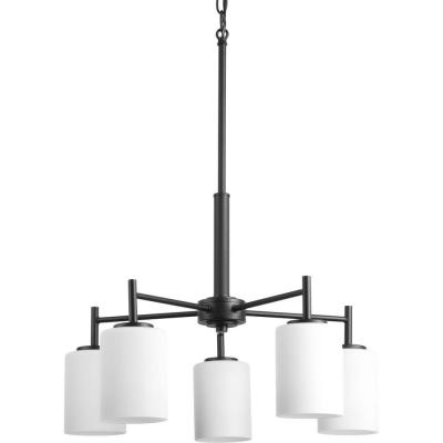 Replay 5-Light Black Chandelier with Etched White Glass
