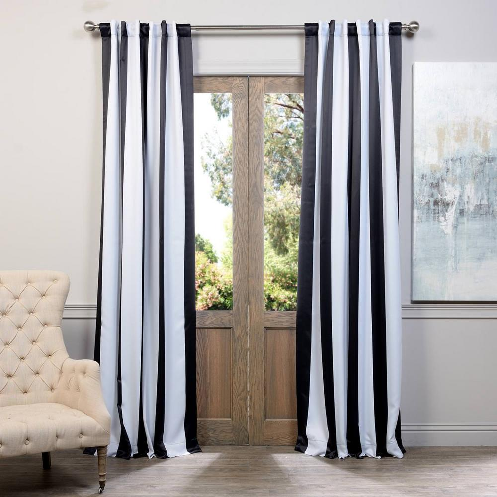 exclusive fabrics furnishings semi opaque awning black and white stripe blackout curtain 50. Black Bedroom Furniture Sets. Home Design Ideas
