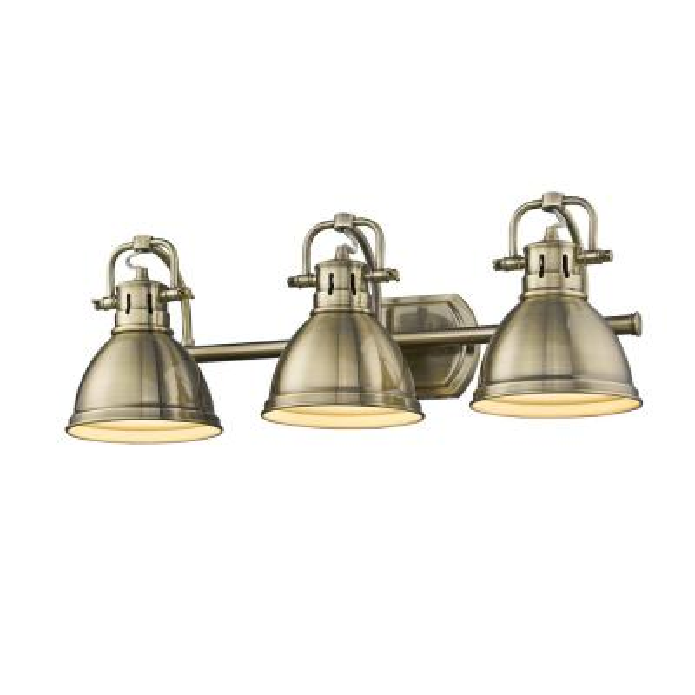 Duncan AB 3-Light Aged Brass Bath Light with Aged Brass Shades