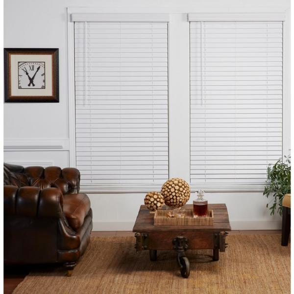 Cut-to-Width White 2in Cordless Faux Wood Blind - 34in. W x 84in. L (Actual size: 34in. W x 84in. L)