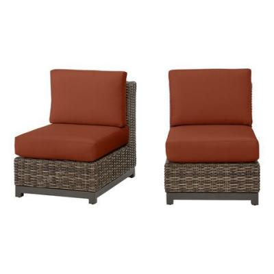 Fernlake Taupe Wicker Armless Middle Outdoor Patio Sectional Chair with CushionGuard Quarry Red Cushions (2-Pack)