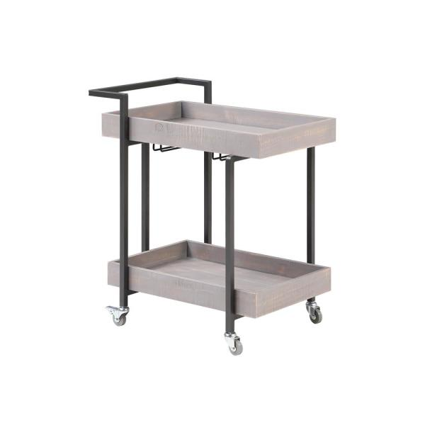 Fitzwallace Antique Gray and Gun Metal Serving Cart