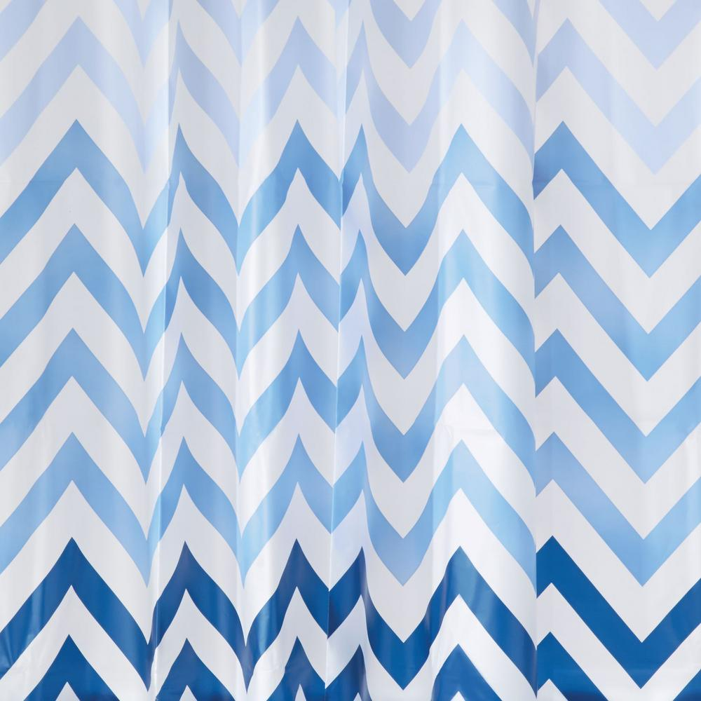 InterDesign Ombre Chevron SC 12 In Blue Shower Curtain