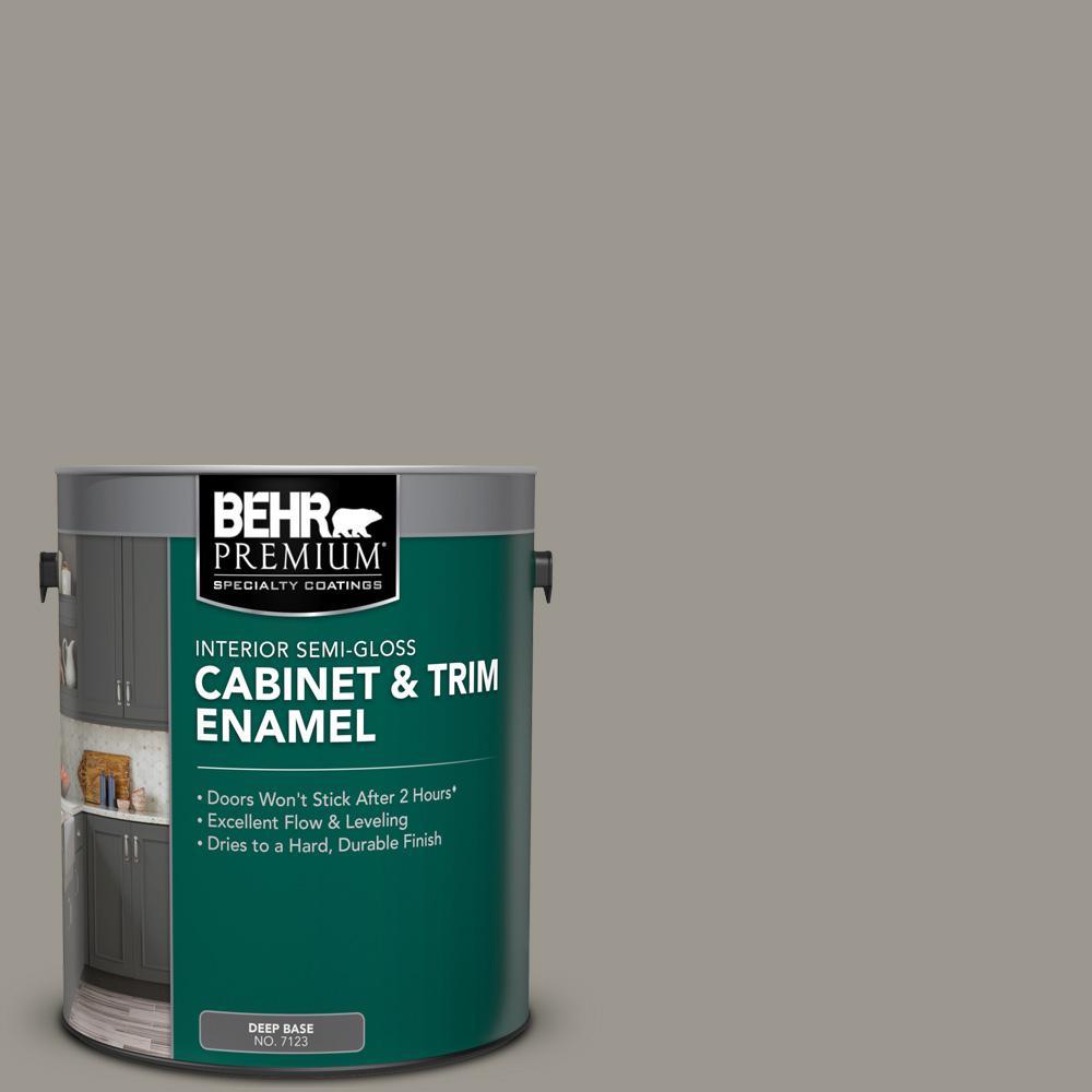 1 gal. #N360-4 Battleship Gray Semi-Gloss Enamel Interior Cabinet and Trim Paint
