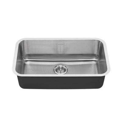 Portsmouth Undermount Stainless Steel 30 in. 0-Hole Single Bowl Kitchen Sink Kit