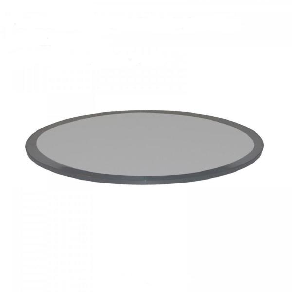 Fab Glass And Mirror 24 In Round 1 2 In Thick Beveled Tempered Grey Glass Table Top Grey 24rt12thbe The Home Depot