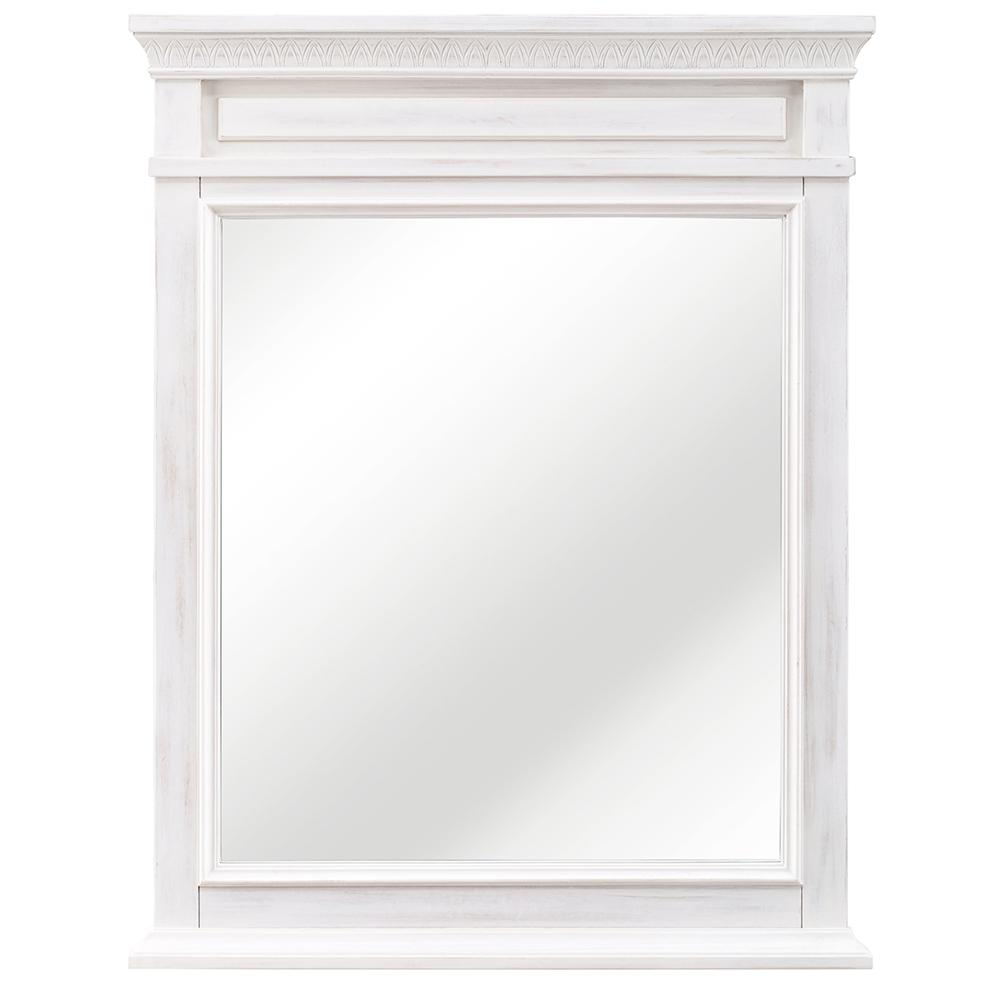 Home Decorators Collection Cailla 25 in. W x 32 in. H Framed Wall Mirror in White Wash