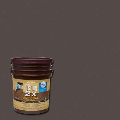 5 gal. 2X Autumn Brown Solid Deck Stain with NeverWet