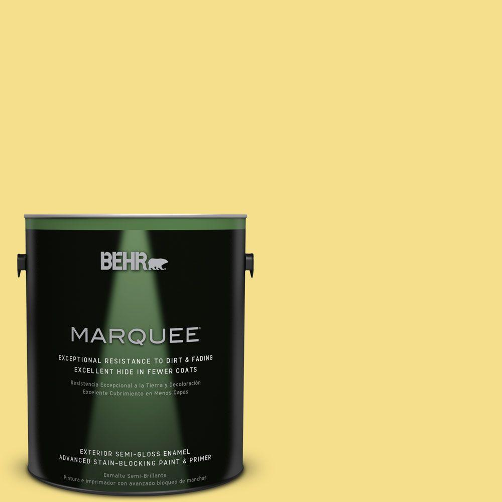 1 gal. #HDC-SP16-03 Lemon Curd Semi-Gloss Enamel Exterior Paint