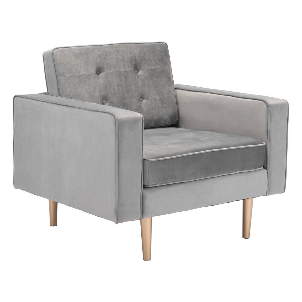 ZUO Puget Gray Velvet Arm Chair
