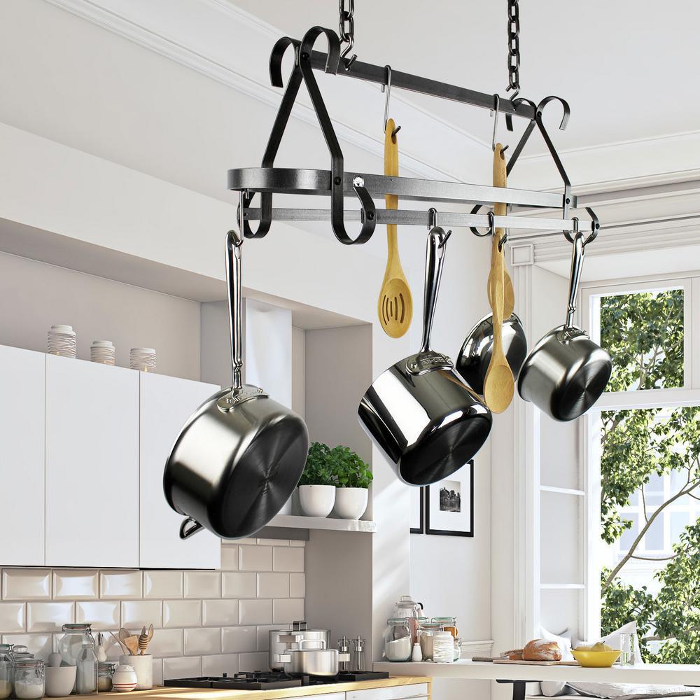 Enclume Decor Hammered Steel Hanging Ceiling Pot Rack by Enclume