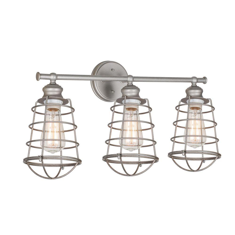 vanity lighting design. Design House Ajax Collection 3-Light Galvanized Indoor Vanity Light Lighting W
