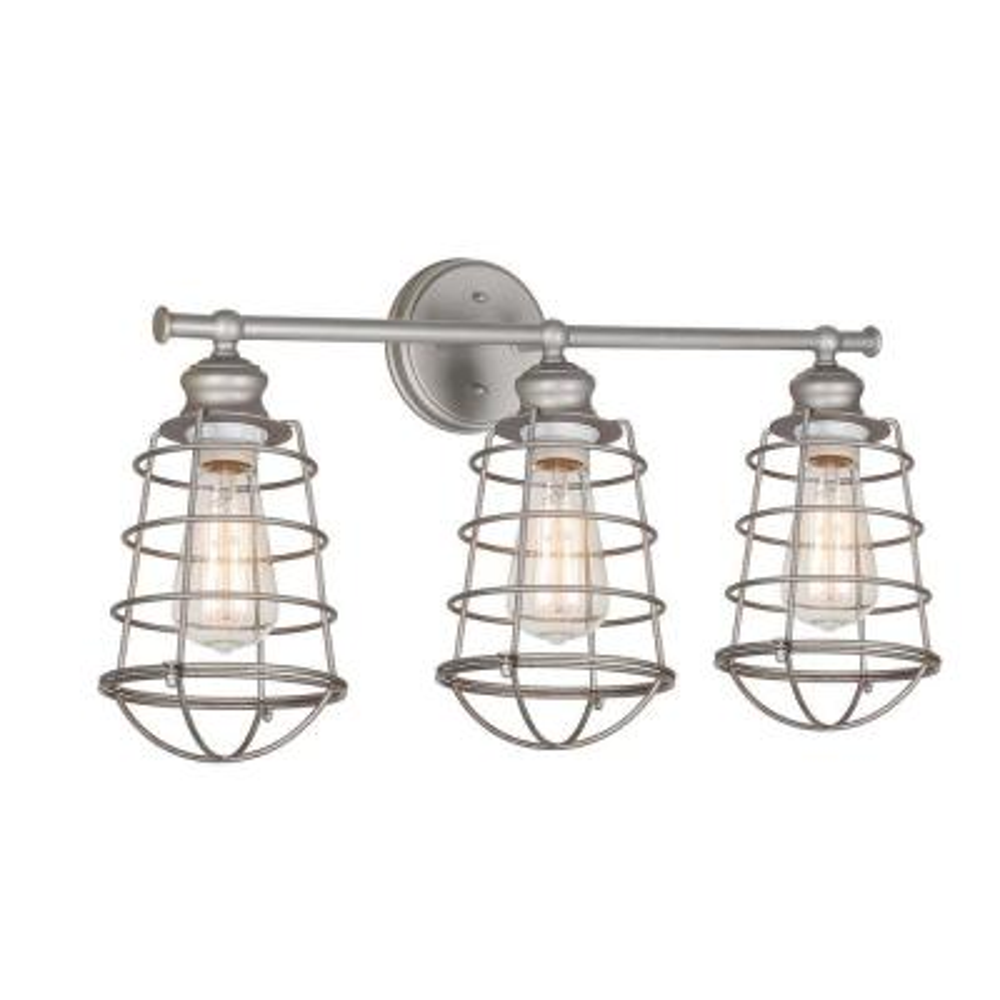 Ajax Collection 3-Light Galvanized Indoor Vanity Light