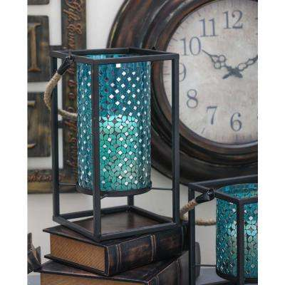 Mosaic Glass Lantern with Rope Handle