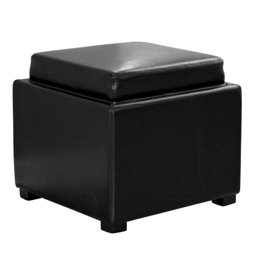 Tate Contemporary Black Leather Upholstered Storage Ottoman