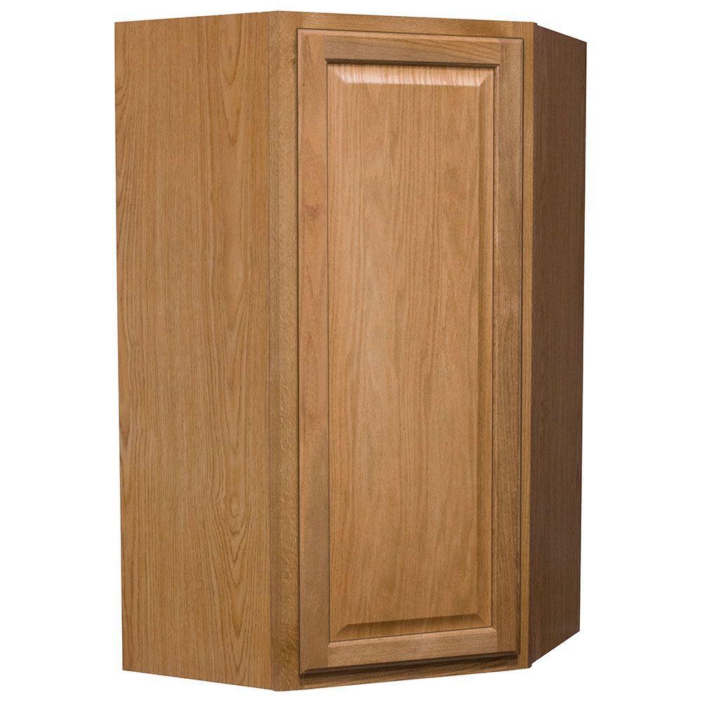 Hampton Bay Hampton Assembled 24x42x12 in. Diagonal Corner Wall Kitchen Cabinet in Medium Oak
