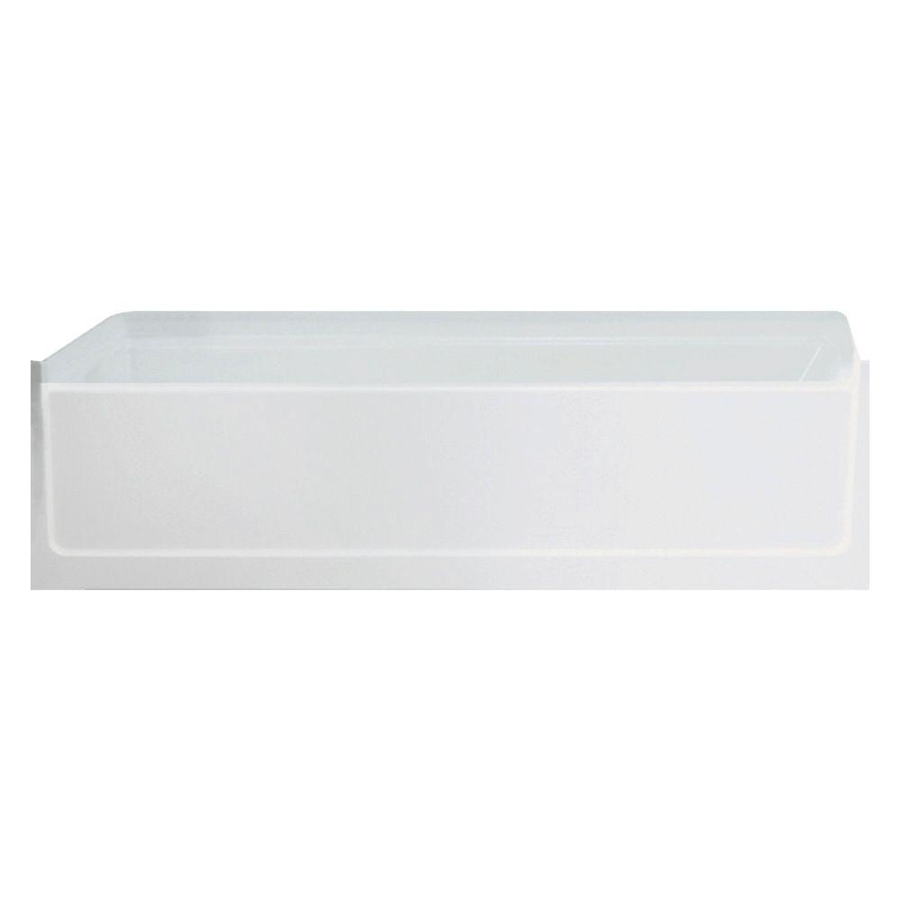 Left Drain Rectangular Alcove Bathtub In White