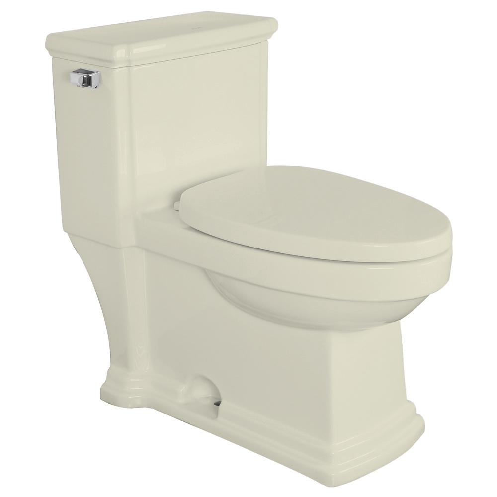 Transolid Hayes 1-Piece 1.28 GPF Single Flush Elongated Toilet in Biscuit, Seat Included