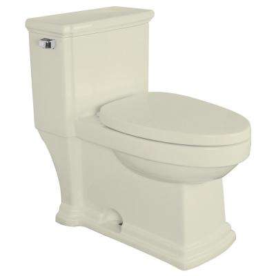 Hayes 1-Piece 1.28 GPF Single Flush Elongated Toilet in Biscuit, Seat Included