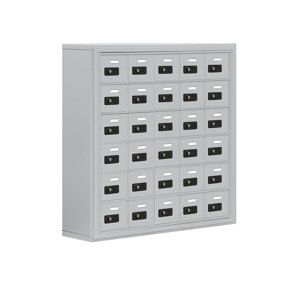 19000 Series 37 in. W x 36.5 in. H x 9.25 in. D 30 A Doors S-Mount Resettable Locks Cell Phone Locker in Aluminum