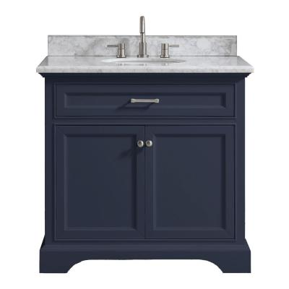 Windlowe 37 in. W x 22 in. D x 35 in. H Bath Vanity in Navy Blue with Carrara Marble Vanity Top in White with White Sink