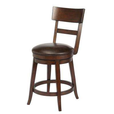 Alex 24 in. Walnut Counter Height Barstool (Single)