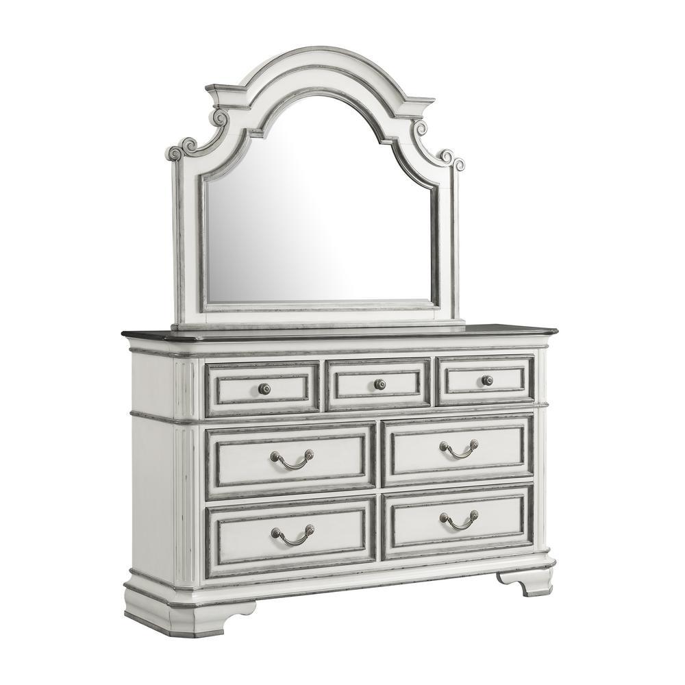 Caroline 7-Drawer Antique White Dresser with Mirror