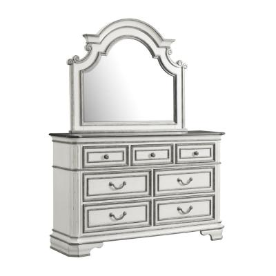 Caroline 7-Drawer Antique White Dresser with Mirror