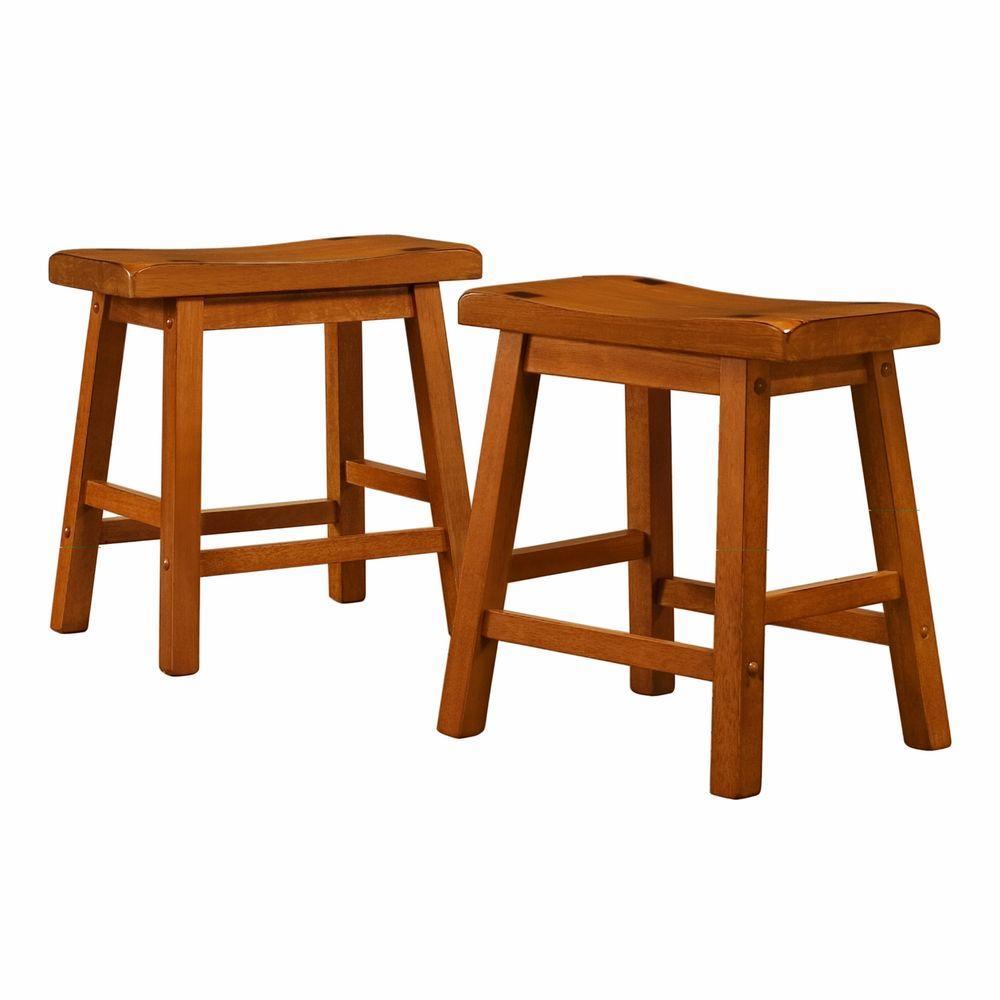 Home Decorators Collection 18 in. H Oak Saddleback Stool (Set of 2)-DISCONTINUED