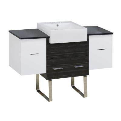 16-Gauge-Sinks 50.75 in. W x 19 in. D Vanity in White-Grey with Stone Vanity Top in Black Galaxy with White Basin