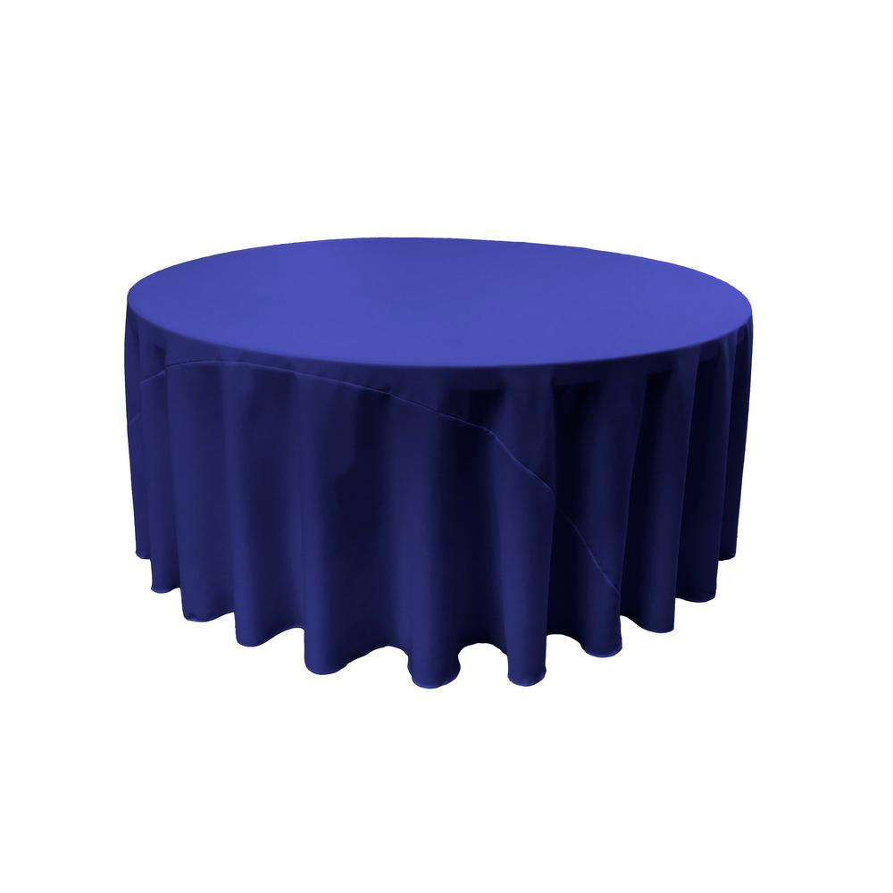 LA Linen 120 In. Round Royal Blue Polyester Poplin Tablecloth