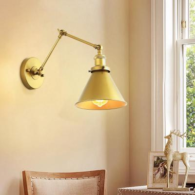 Robi Brushed Gold Adjustable Metal Swing Arm Plug-In Wall Sconce