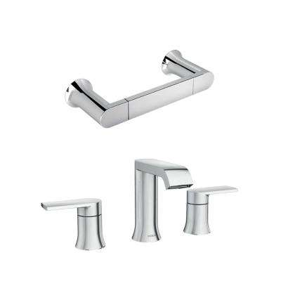 Genta 8 in. Widespread 2-Handle Bathroom Faucet with Towel Ring in Chrome