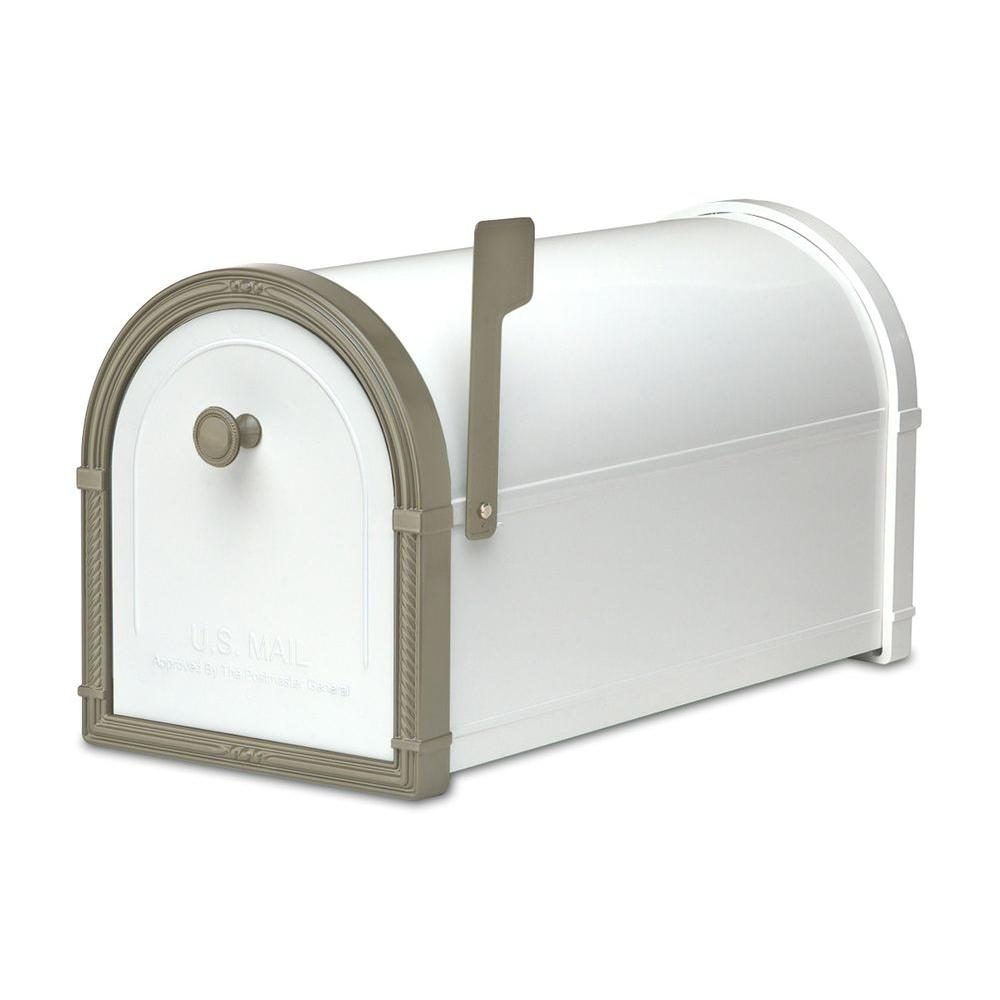 Architectural Mailboxes Bellevue White with Bronze Accents Post-Mount Mailbox