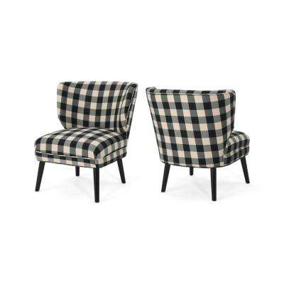 Desdemona Modern Farmhouse Black Checkerboard Fabric Accent Chairs (Set of 2)