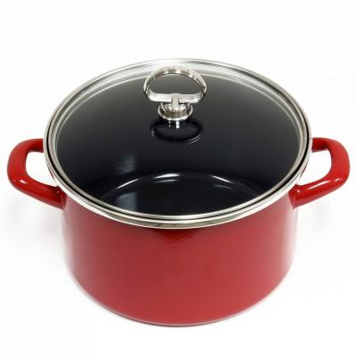 4 Qt. Enamel-On-Steel Soup Pot with Glass Lid in Chili Red