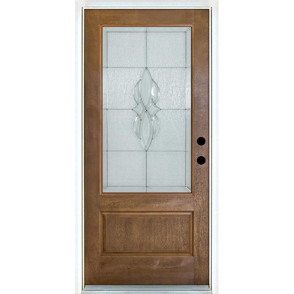 MP Doors 36 in. x 80 in. Scotia Medium Oak Left-Hand Inswing 3/4 Lite Decorative Fiberglass Prehung Front Door