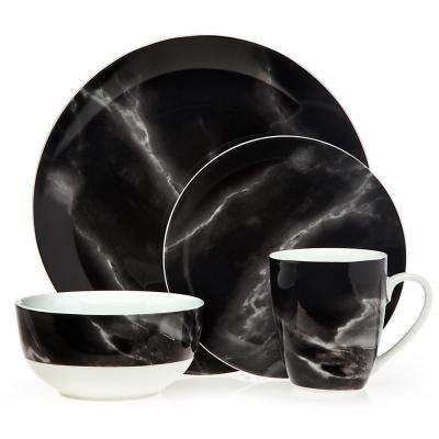 Carrera 16-Piece Modern Black and White Porcelain Dinnerware Set (Service for 4)