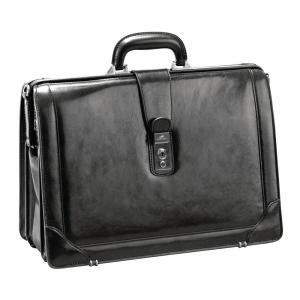 Luxurious Black Italian Leather Briefcase for 17 inch Laptop by